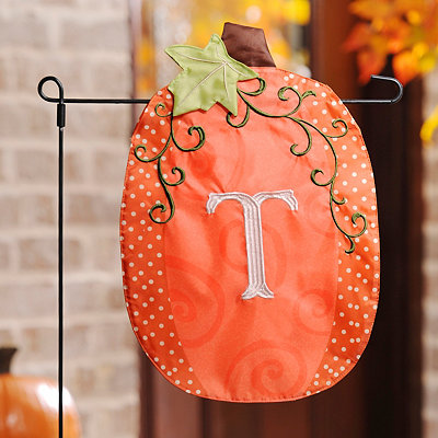 Stitched Monogram T Pumpkin Flag