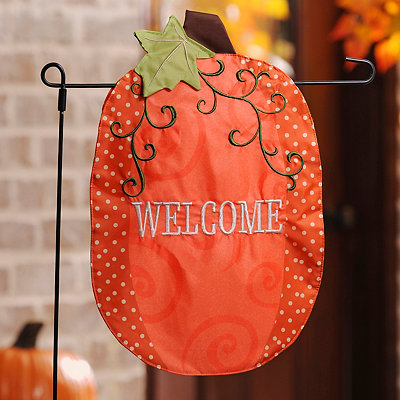 Stitched Welcome Pumpkin Flag