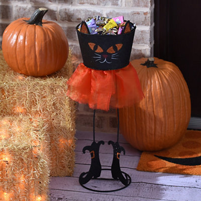 Black Cat Glittered Candy Basket