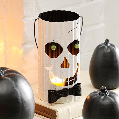 Glittery Ghost Metal Lantern