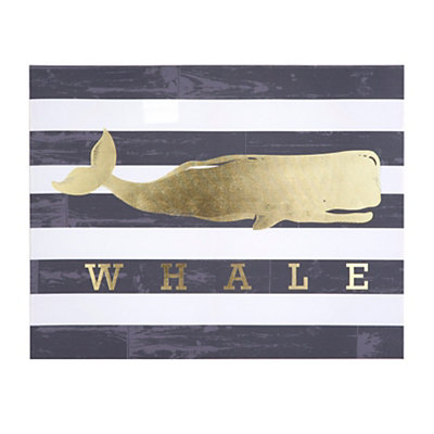 Gold Whale Canvas Art Print