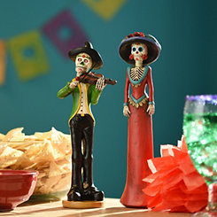 Day of the Dead Skeleton Figurines, Set of 2