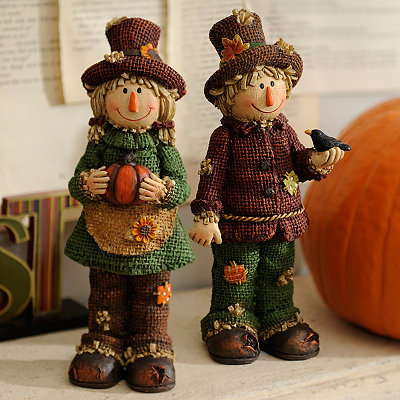 Rustic Scarecrow Statues, Set of 2