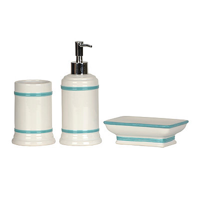 White and Aqua Bathroom Accessories, Set of 3