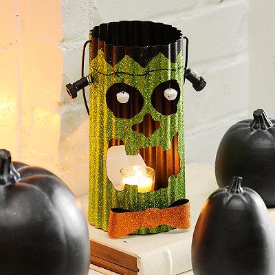 Glittery Frankenstein Metal Lantern