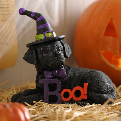 Halloween Black Lab Puppy Statue