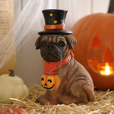 Halloween Bulldog Puppy Statue