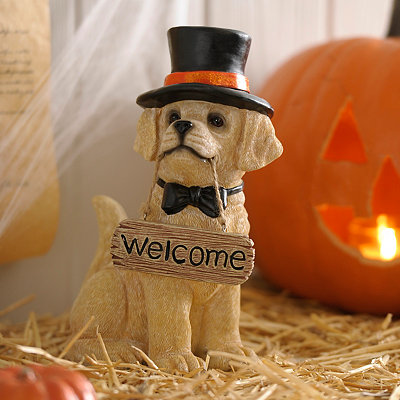 Halloween Yellow Lab Puppy Statue