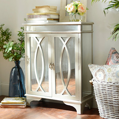 Silver Mirrored Oval Cabinet
