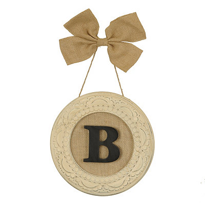 Round Distressed Cream Monogram B Framed Plaque