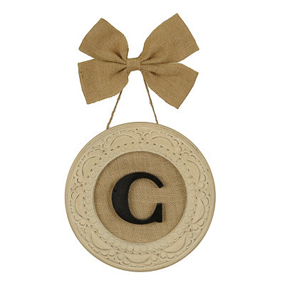 Round Distressed Cream Monogram C Framed Plaque