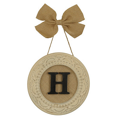 Round Distressed Cream Monogram H Framed Plaque