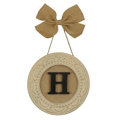 Round Distressed Cream Monogram H Framed Plaque