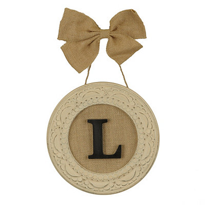 Round Distressed Cream Monogram L Framed Plaque