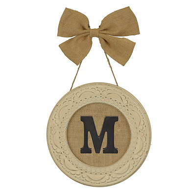 Round Distressed Cream Monogram M Framed Plaque