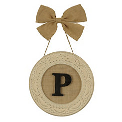 Round Distressed Cream Monogram P Framed Plaque