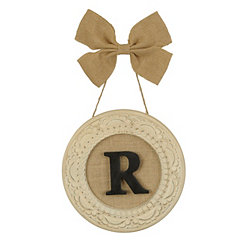 Round Distressed Cream Monogram R Framed Plaque
