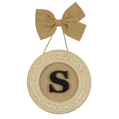 Round Distressed Cream Monogram S Framed Plaque