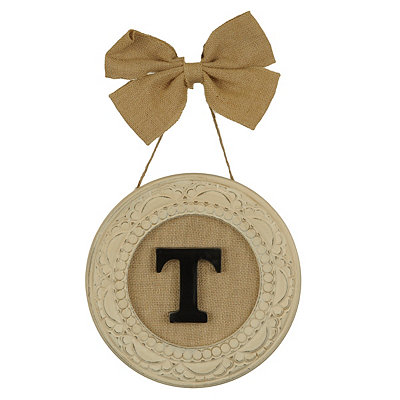 Round Distressed Cream Monogram T Framed Plaque