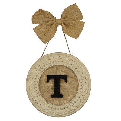 Round Distressed Cream Monogram T Framed Plaque