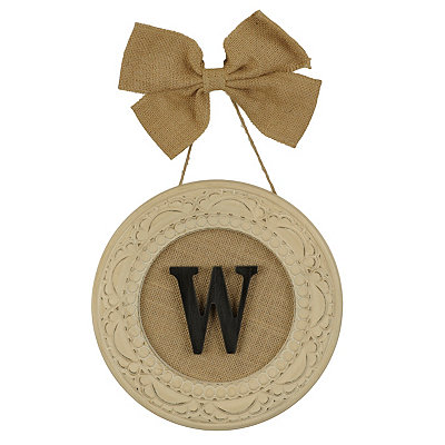 Round Distressed Cream Monogram W Framed Plaque