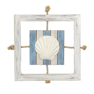 Seashell Knotted Rope Wooden Plaque