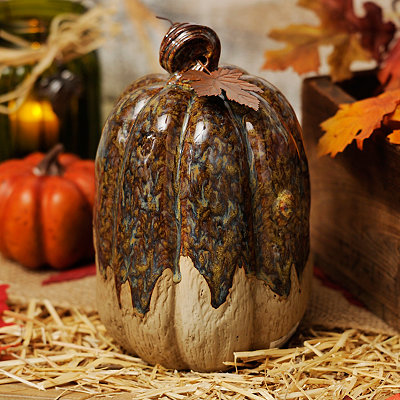 Blue Glazed Ceramic Pumpkin, 9 in.