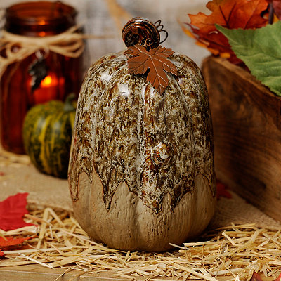 Cream Glazed Ceramic Pumpkin, 9 in.