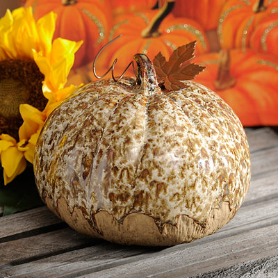 Cream Glazed Ceramic Pumpkin, 5.5 in.