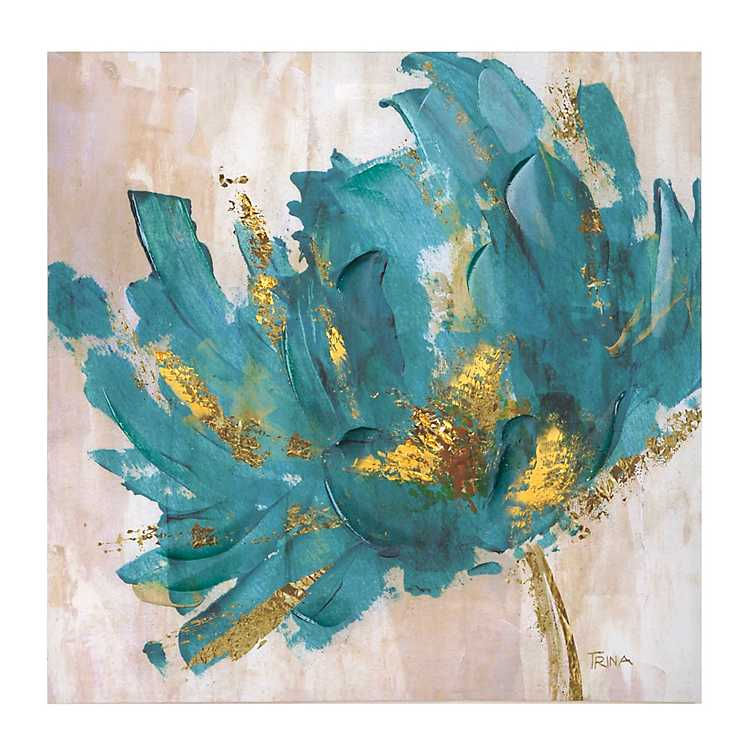 Turquoise and gold flower canvas art print kirklands for Large photographic prints for sale