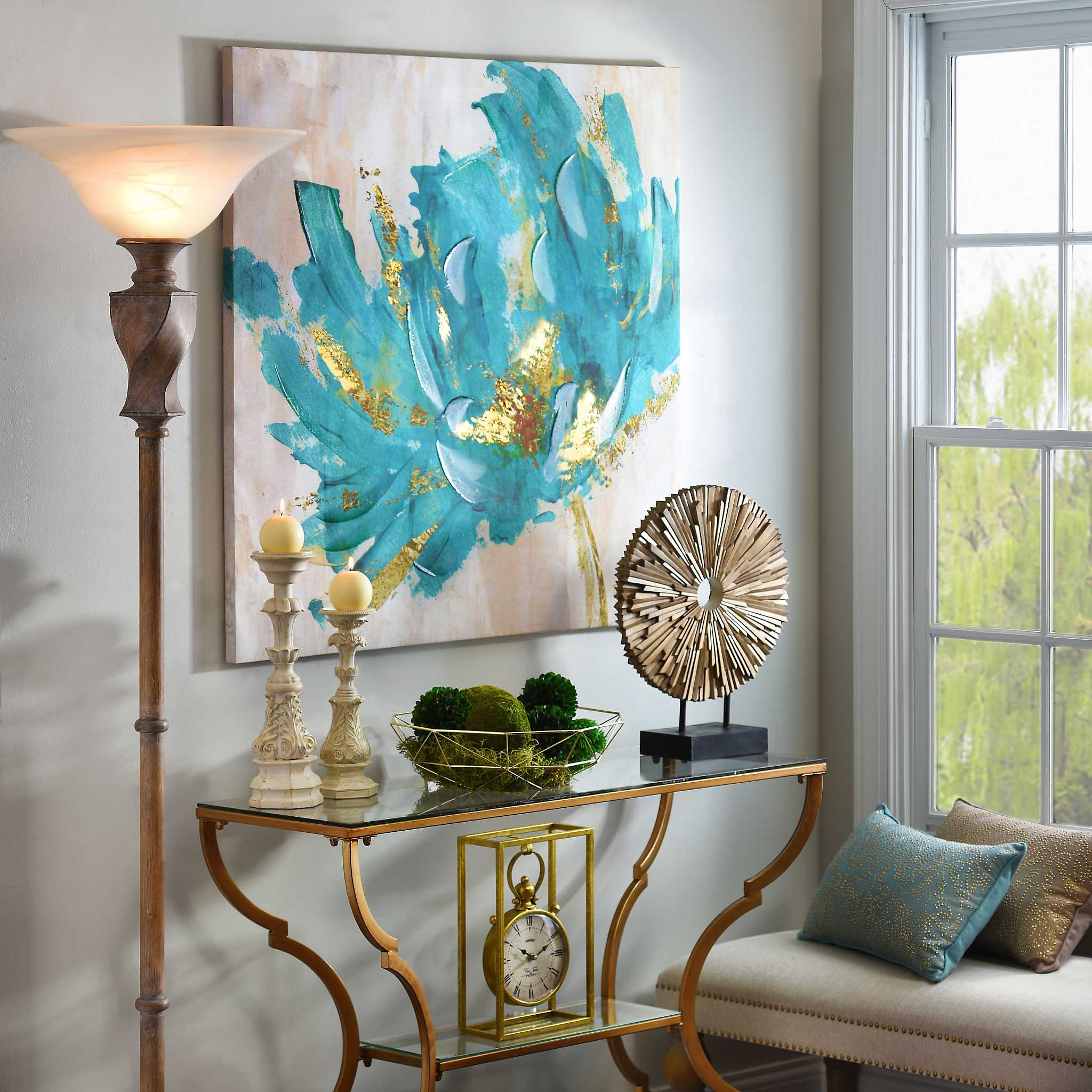 Gorgeous Golden Accent Wall Art Canvas Print Poster: Turquoise And Gold Flower Canvas Art Print