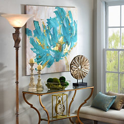 Turquoise and Gold Flower Canvas Art Print