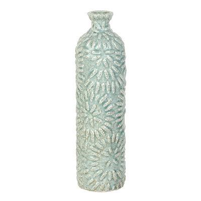 Embossed Blue Sand Bottle Vase