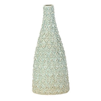 Embossed Blue Sand Triangle Vase