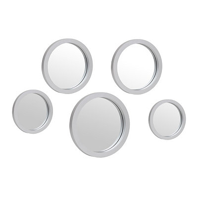 Silver Circle Mirror, Set of 5