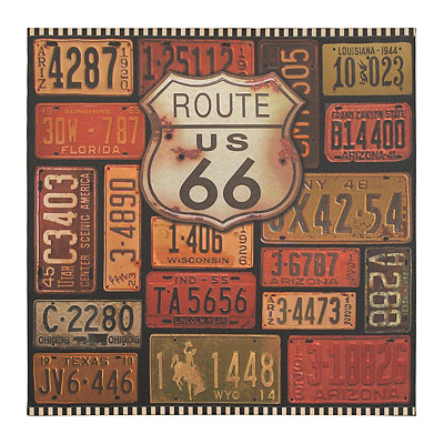Route 66 License Plate Canvas Art Print