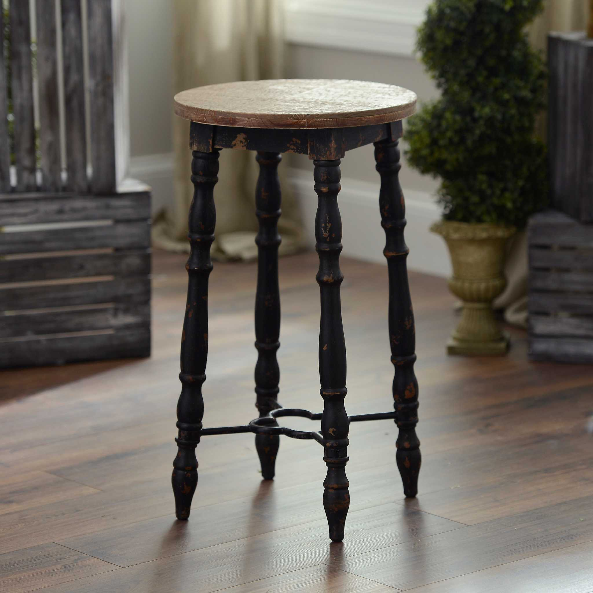 Distressed Black Cottage Spindle Bar Stool Kirklands