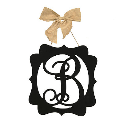 Scalloped Black Monogram B Wall Plaque