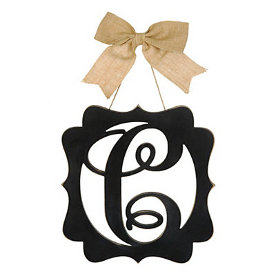 Scalloped Black Monogram C Wall Plaque