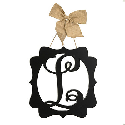 Scalloped Black Monogram L Wall Plaque