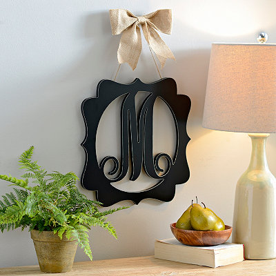 Scalloped Black Monogram M Wall Plaque