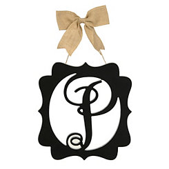 Scalloped Black Monogram P Wall Plaque