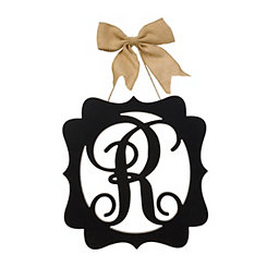 Scalloped Black Monogram R Wall Plaque