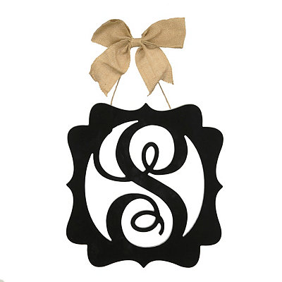 Scalloped Black Monogram S Wall Plaque