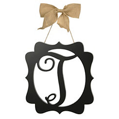 Scalloped Black Monogram T Wall Plaque