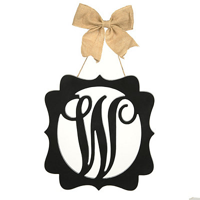 Scalloped Black Monogram W Wall Plaque