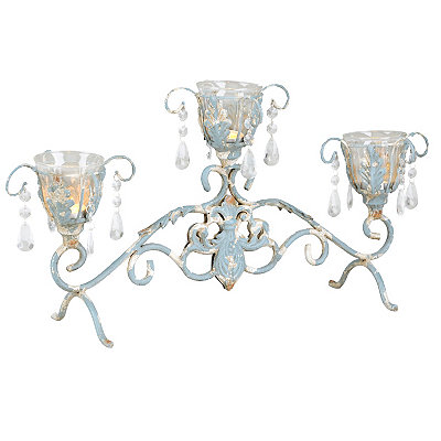 Jeweled Antique Blue Candle Runner
