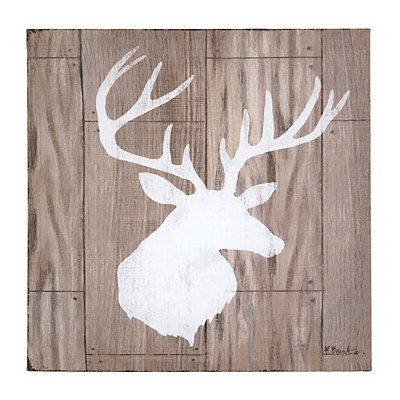 White Deer Silhouette Canvas Art Print
