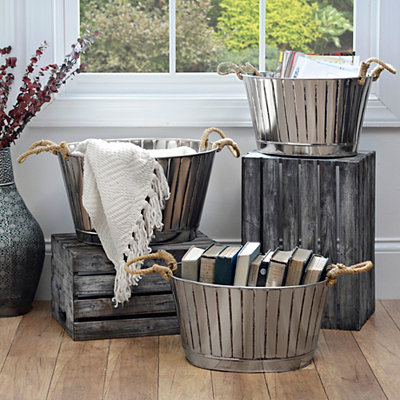 Ribbed Pewter Metal Buckets, Set of 3