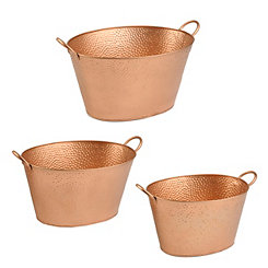 Hammered Copper Metal Buckets, Set of 3